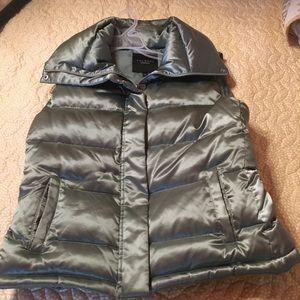 Talbots Metallic sage puffer vest